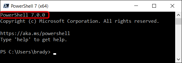 Verify you are running PowerShell 7 in the top corner of the program.