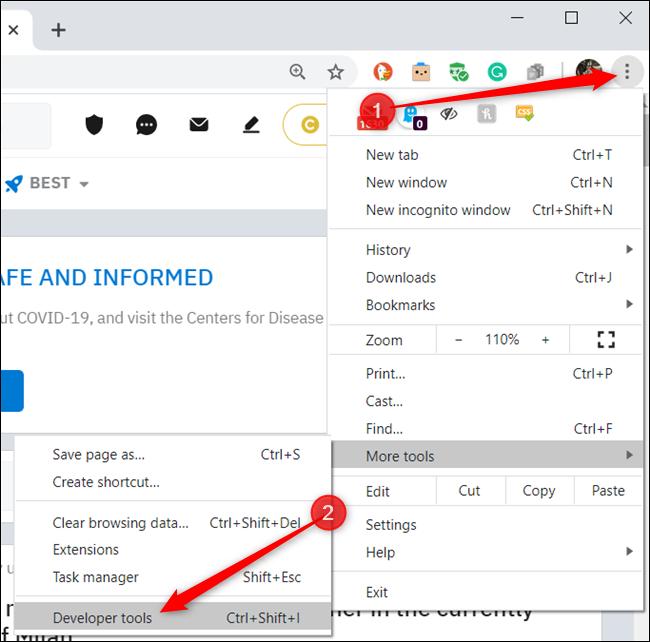 Click the menu icon (three dots) and then click More tools > Developer tools.