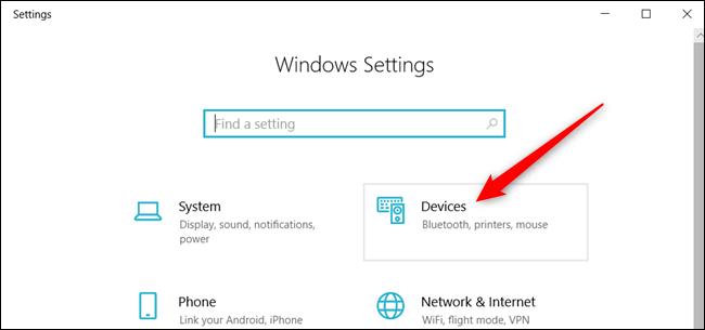 """Click """"Devices"""" from the Settings app."""