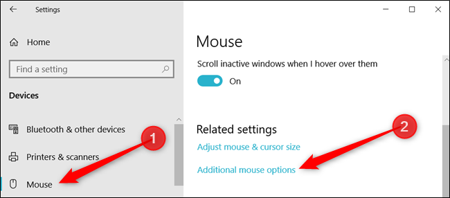 """Click """"Mouse,"""" and then click """"Additional mouse options"""" to open the Mouse Properties."""
