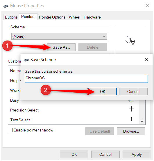 After you change each cursor, save it as a preset in case you want to change it in the future.