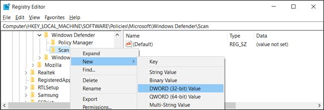 """Haga clic con el botón derecho en la tecla """"Escanear"""" y haga clic en Nuevo> Valor DWORD (32 bits)."""