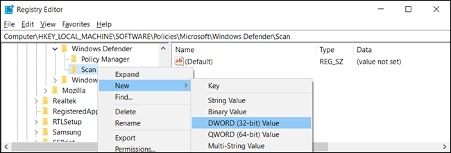 "Right-click the ""Scan"" key and click New > DWORD (32-bit) Value."