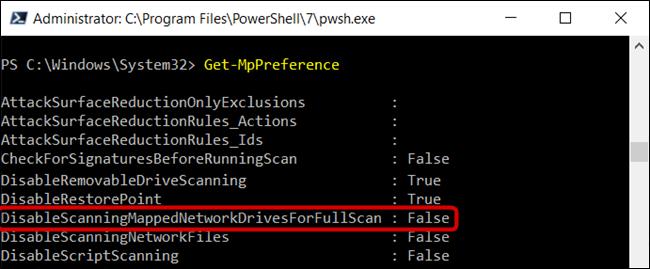 """El """"DisableScanningMappedNetworkDrivesForFullScan"""" se establece en False."""
