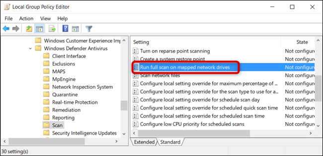 "Double-click the ""Run full scan on mapped network drive"" Group Policy setting."