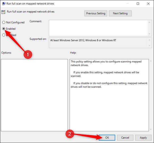 """Habilite la configuración y haga clic en """"Aceptar"""" cuando haya terminado."""