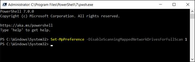 Vô hiệu hóa quét ổ đĩa mạng dành riêng cho Defender trong PowerShell