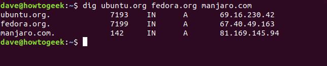 "The ""dig ubuntu.org fedora.org manjaro.com"" command in a terminal window."