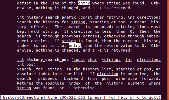 "Results for the search term ""entry"" highlighted in a man page in a terminal window."