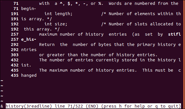 "Lines that contain the word ""number"" in a man page in a terminal window."