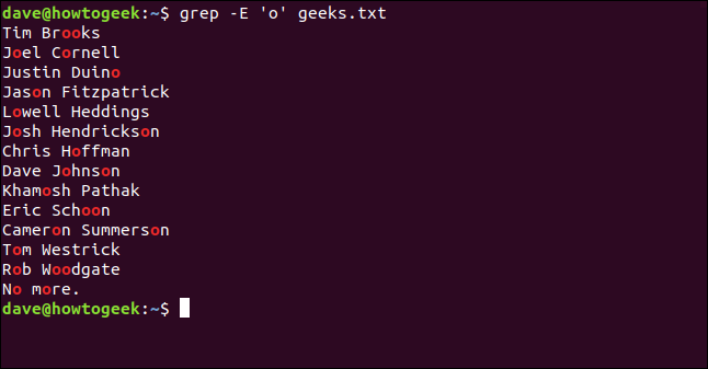 "The ""grep -E 'o' geeks.txt"" command in a terminal window."