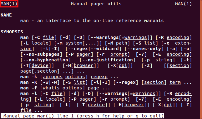 "The man page for ""man 1"" open in a terminal window."
