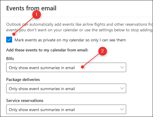 "The ""Events from email"" panel."