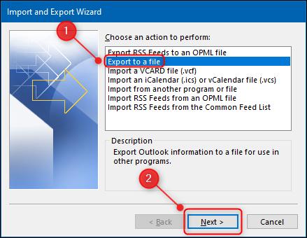 """El """"Asistente para importar y exportar"""" con la opción """"Exportar a un archivo"""" resaltada."""