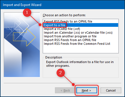 """The """"Import and Export Wizard"""" with the """"Export to a file"""" option highlighted."""