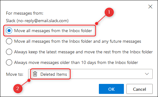 """The """"Move all messages from the Inbox folder"""" option."""