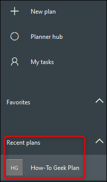 Recent plans in the sidebar.