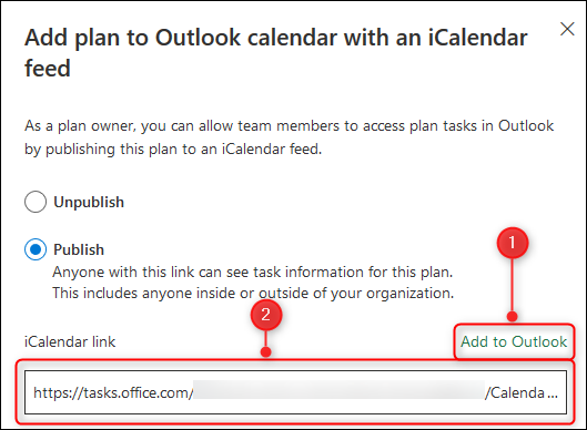 The options to add the planner to your calendar, or copy an iCalendar link.