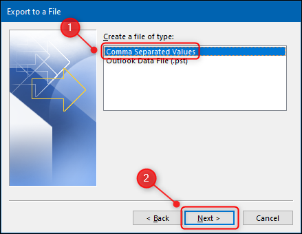 """The """"Import and Export Wizard"""" with the """"Comma Separated Values"""" option highlighted."""