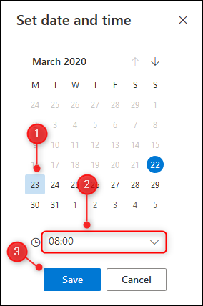 The panel for selecting a custom snooze date and time.
