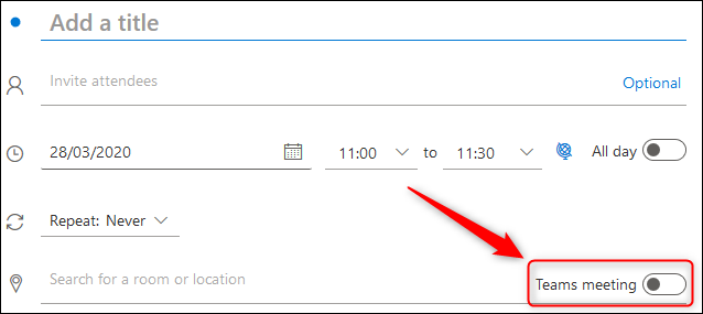 "The ""Teams meeting"" toggle switch in an Outlook Online meeting request."