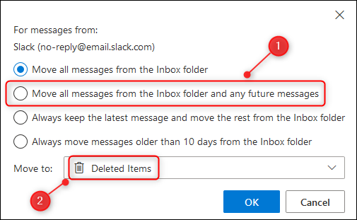 """The """"Move all message from the folder and any future messages"""" option."""