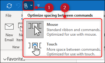 """The """"Touch/Mouse Mode"""" options."""
