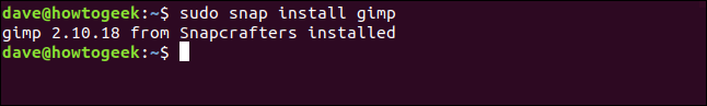"A ""gimp 2.10.18 from Snapcrafters installed"" message in a terminal window."