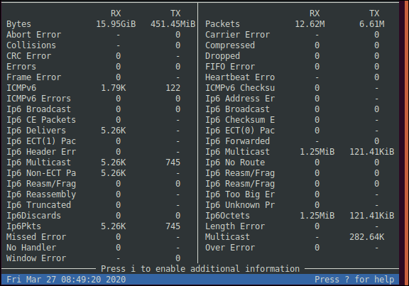 The bmon detailed statistics view in a terminal window.