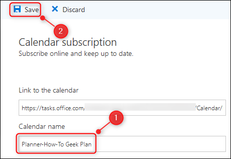 "Outlook's ""Calendar subscription"" panel."