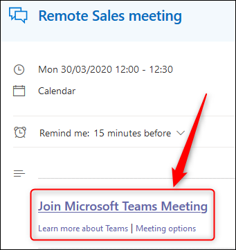 An event in the Outlook Online calendar showing the Teams meeting link.