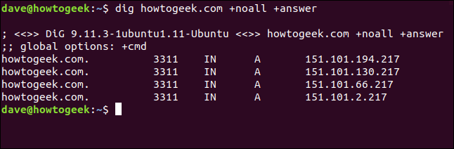 "The ""dig howtogeek.com +noall +answer"" command in a terminal window."