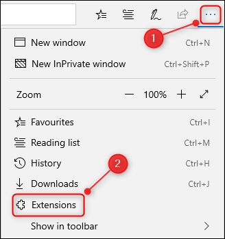 """The 3 dots and browser menu in Edge, with the """"Extensions"""" option highlighted."""