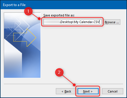 """El """"Asistente de importación y exportación"""" con la opción de nombre de archivo resaltada."""