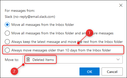 "The ""Always move messages older than 10 days from the folder"" option."