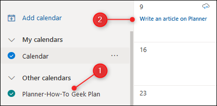 The Planner calendar displayed in Outlook.