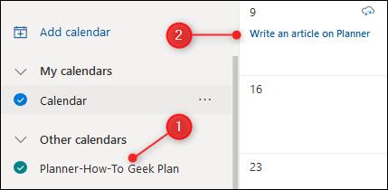 The Planner calendar displayed in Outlook.