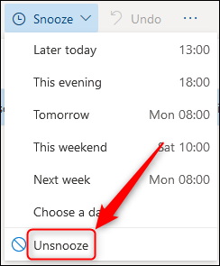 """The """"Unsnooze"""" option."""