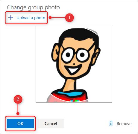 "The ""Change group photo"" panel."