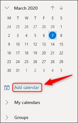 """Outlook Online's """"Add calendar"""" option."""