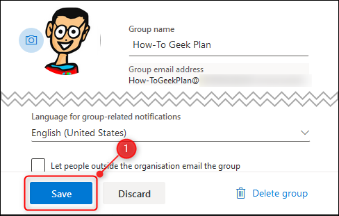 The group Settings page.