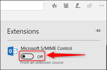 The S/MIME Control on/off toggle switch.
