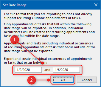 """The """"Set Date Range"""" panel with the Start and End Date fields highlighted."""