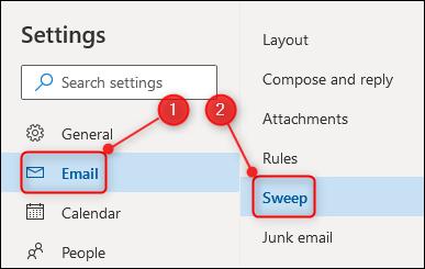 The Sweep settings option.