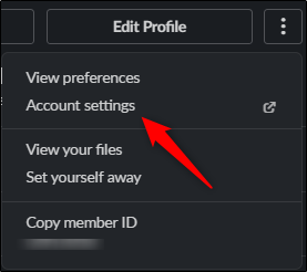 Account settings option