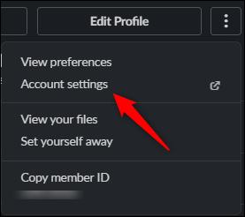 Account settings option
