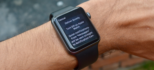 App notifications management screen on Apple Watch