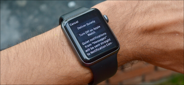 App notifications management screen on Apple Watch