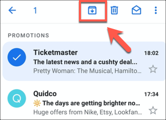 Press the Archive button on any selected email to archive emails in the Gmail app