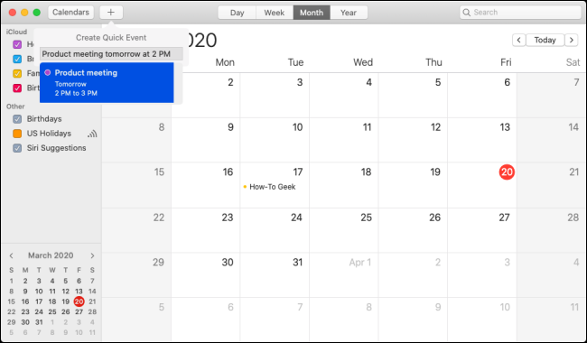 "The ""Create Quick Event"" option in the ""Calendar"" app."